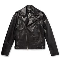 Alexander Mcqueen Convertible Leather Biker Jacket Black