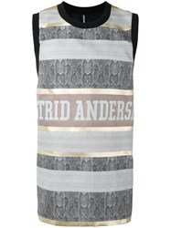 Astrid Andersen Basketball Style Tank Top Men Silk Polyester L Black