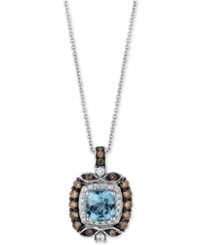 Le Vian Chocolatier Aquamarine 3 4 Ct. T.W. And Diamond 1 2 Ct. T.W. Square Pendant Necklace In 14K White Gold