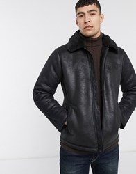 Hollister Faux Leather Shearling Aviator Jacket In Black