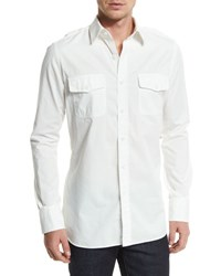 Tom Ford Military Style Washed Twill Sport Shirt White