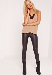 Missguided Insert Lace Strap Detail Cami Top Nude
