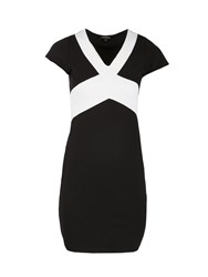 Morgan Jersey Knitted Colorblock Dress Black White