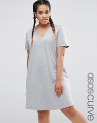Asos Curve Swing T Shirt Dress With V Neck Grey