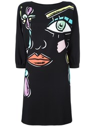 Boutique Moschino Abstract Face Dress Black