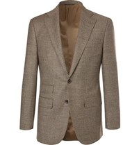 Thom Sweeney Grey Slim Fit Houndstooth Wool And Cashmere Blend Suit Jacket Beige