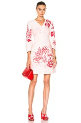Fendi V Neck Printed Mini Dress In Pink