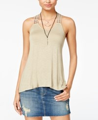 American Rag Crocheted Back High Low Tank Top Only At Macy's Light Olive