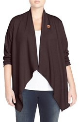 Bobeau Plus Size Women's One Button Fleece Cardigan