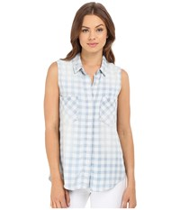 Brigitte Bailey Braylee Sleeveless Plaid Button Up Top Light Denim Women's Sleeveless Blue