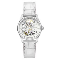 Hamilton H32405811 Women's Jazzmaster Viewmatic Automatic Skeleton Leather Strap Watch White