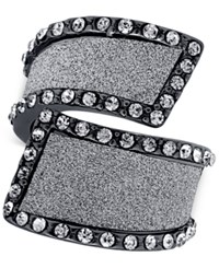 Guess Hematite Tone Cocktail Stretch Ring With Clear Crystal And Glitter Swirl Accents