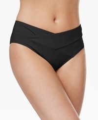Kenneth Cole Sexy Solids Crossover Hipster Bikini Bottoms Women's Swimsuit Black