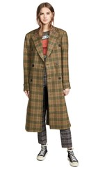R 13 R13 Double Breasted Coat Green Plaid