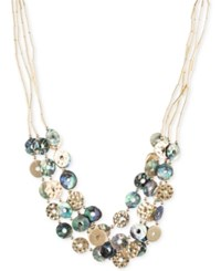 Lonna And Lilly Gold Tone Tube Chain Multi Disc Collar Necklace