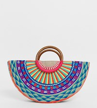 Accessorize Magerita Woven Embroidered Moon Grab Clutch Bag With Wooden Handle Multi