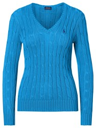 Polo Ralph Lauren V Neck Cable Knit Jumper Brookfield Blue