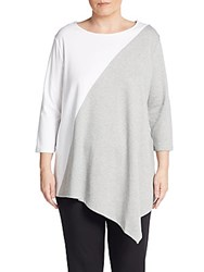 Joan Vass Sizes 14 24 Two Tone Cotton Asymmetrical Tunic Pearl Grey White