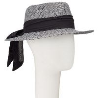 John Lewis Tie Detail Packable Fedora Hat Black Mix