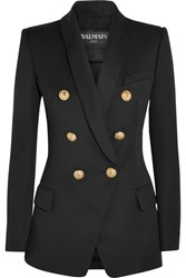Balmain Double Breasted Wool Twill Blazer Black