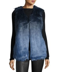 Romeo And Juliet Couture Faux Fur Ombre Vest Navy