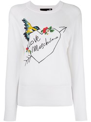 Love Moschino Embroidered Logo Jumper White