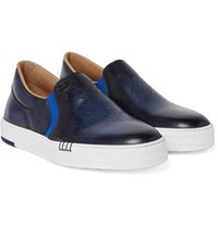 Berluti Playtime Polished Leather Slip On Sneakers Navy