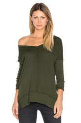 Bobi Light Weight Jersey V Neck Tunic Green