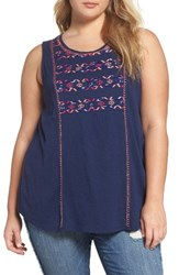 Lucky Brand Plus Size Women's Geo Embroidered Tank