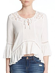 Romeo And Juliet Couture Lace Trim Blouse White