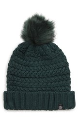 Treasure And Bond Cable Knit Beanie With Faux Fur Pom Blue Green Teal Bayou