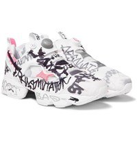 Vetements Reebok Instapump Fury Printed Neoprene And Mesh Sneakers White
