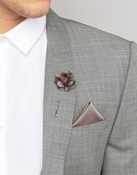 French Connection Pocket Square And Lapel Pin Set Pink