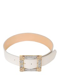 Alessandra Rich 25Mm Crystal Nappa Leather Belt Off White