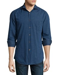 Brunello Cucinelli Polka Dot Slim Fit Cotton Shirt Light Denim
