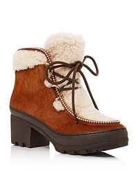 Tory Burch Berkley Calf Hair And Sheep Fur Lace Up Booties Derby Brown