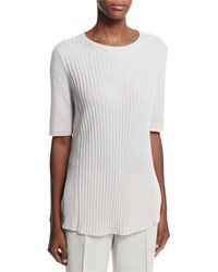 Lafayette 148 New York Half Sleeve Ribbed Cashmere Sweater Moonstone Melange