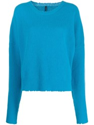 Unravel Project Ribbed Crew Neck Jumper Blue