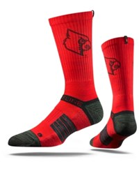 Strideline Men's Louisville Cardinals Crew Socks Red Black