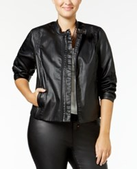 Mblm By Tess Holliday Trendy Plus Size Faux Leather Jacket Black