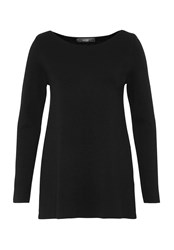 Hallhuber Boat Neck Jumper With A Line Cut Black