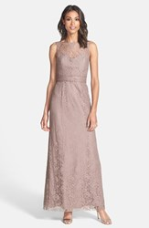 Women's Amsale Illusion Yoke Lace Gown Truffle