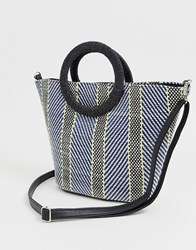 New Look Neon Weave Tote Bag In Blue Pattern