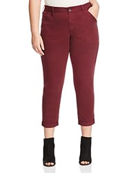 Nydj Plus Reese Relaxed Cuffed Crop Chino Pants Syrah
