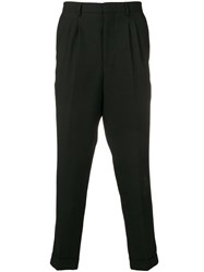 Ami Alexandre Mattiussi Pleated Carrot Fit Trousers Black