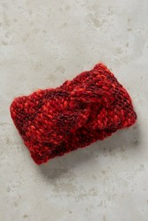 Anthropologie Shimmer Knit Earband Red