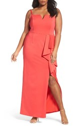 Adrianna Papell Plus Size Women's Jersey Column Gown Hot Tomato