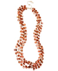 Kenneth Cole New York Gold Tone Shell Chip Bead Multi Row Long Necklace Orange