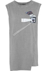 Y 3 Adidas X Planet Printed Cotton Jersey Tank Gray