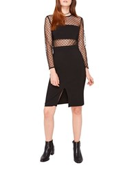 Miss Selfridge Long Sleeve Spot Mesh Pencil Dress Black